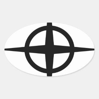 Ringed Star Oval Sticker
