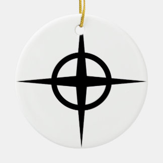 Ringed Star Round Ceramic Decoration