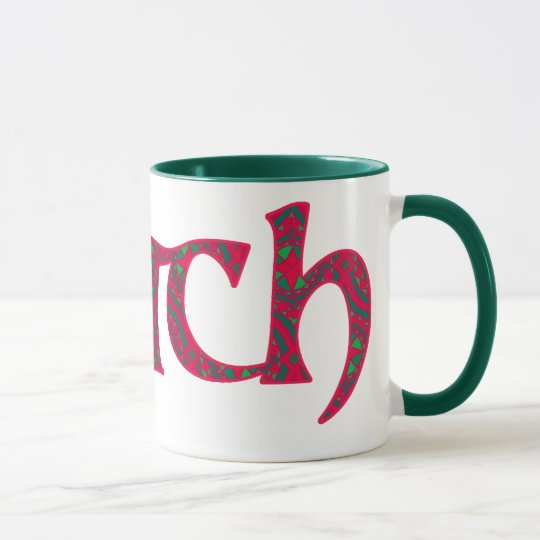 Ringer Coffee Mug Welsh Cwtch: Red Green Geometric