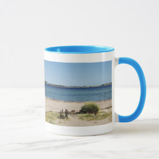 Ringer cup light blue beach and sea