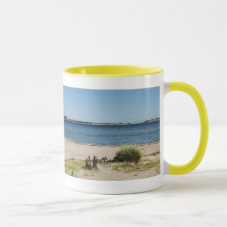 Ringer cup yellow beach and sea