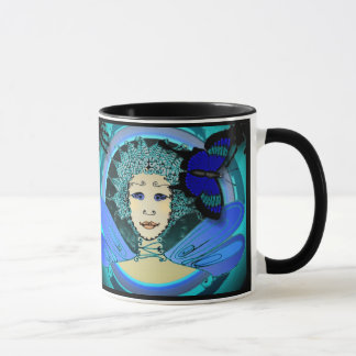 Ringer Mug - Green and Blue Fairy & Blue Butterfly