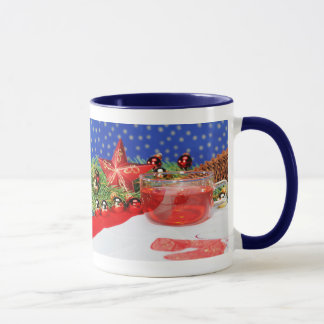 Ringertasse blue with Christmas picture Mug