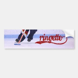 Ringette Bumper Sticker (red writing)