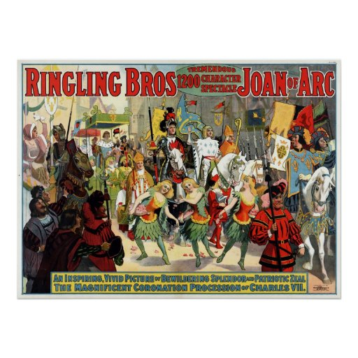 Ringling Bros Joan of Arc Classic Circus 1912 Poster