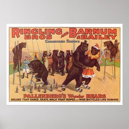 Ringling Bros. Wonder Bears Advertisement 1920's Print