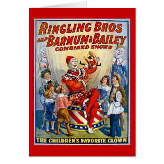 Ringling Brothers Barnum Bailey Vintage Clown Greeting Card