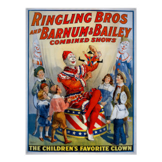 Ringling Brothers & Barnum & Bailey Vintage Clown Print