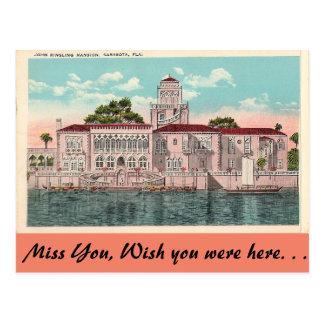 Ringling Mansion, Sarasota, Florida Postcard