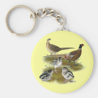 Ringneck Pheasant Family Basic Round Button Key Ring