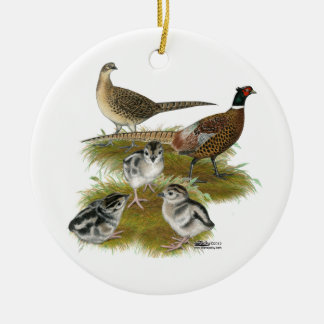 Ringneck Pheasant Family Christmas Ornaments