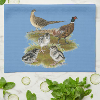Ringneck Pheasant Family Tea Towel