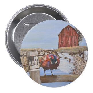 Ringneck Pheasant On Farm Original Painting 7.5 Cm Round Badge