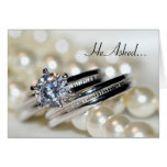 Rings and White Pearls Engagement Announcement Greeting Card