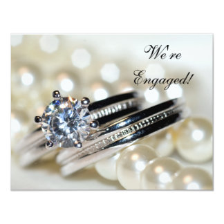 Rings and White Pearls Engagement Party Invitation