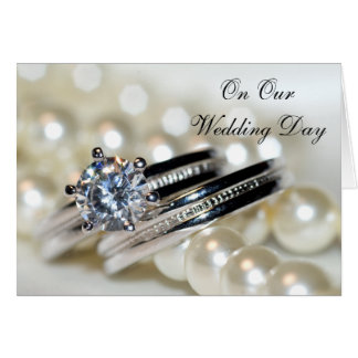 Rings and White Pearls Our Wedding Day Greeting Card