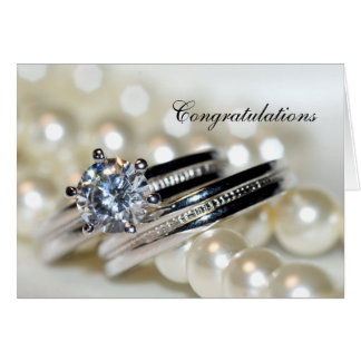 Rings and White Pearls Wedding Congratulations Greeting Card