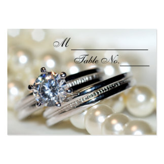 Rings and White Pearls Wedding Place Card Pack Of Chubby Business Cards