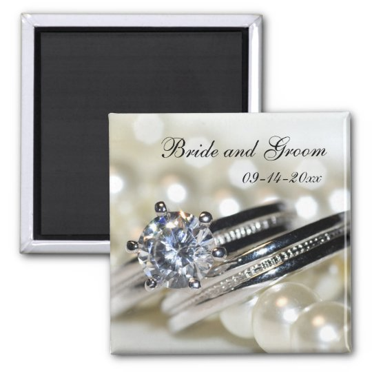 Rings and White Pearls Wedding Save the Date