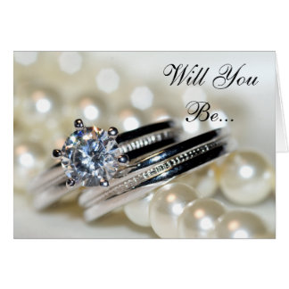 Rings and White Pearls Will You Be My Bridesmaid Card