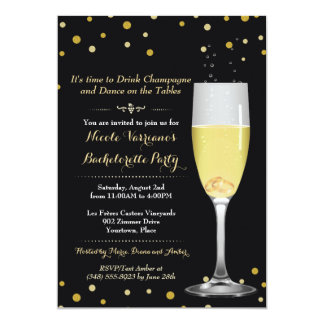 Rings in Champagne Glass Gold Glitter Bachelorette Card