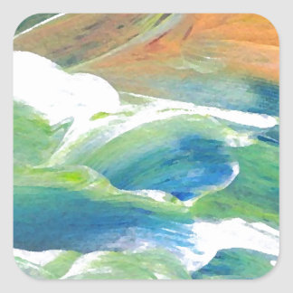 Rings of Saturn Ocean Waves Sea Art Abstract Square Sticker