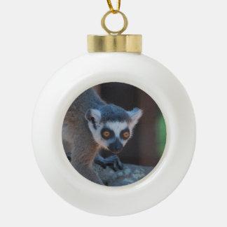 Ringtailed Lemurs Ceramic Ball Christmas Ornament