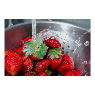 Rinsing Strawberry With Water Poster