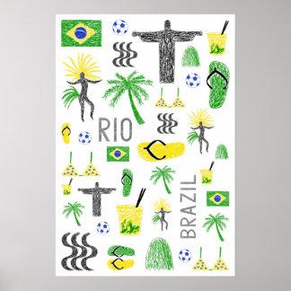 Rio and Brazil symbols Poster