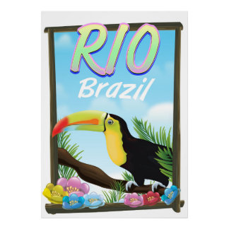 Rio Brazil Toucan travel poster