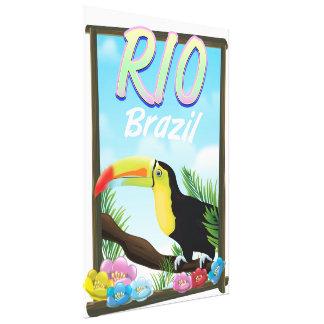 Rio Brazil Toucan travel poster Canvas Print