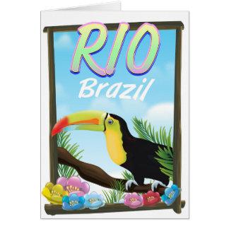 Rio Brazil Toucan travel poster Card