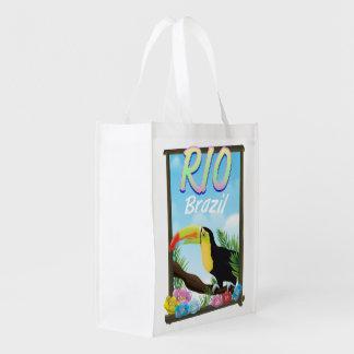 Rio Brazil Toucan travel poster Reusable Grocery Bag