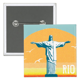 Rio - Corcovado - Jesus Christ the Redeemer 15 Cm Square Badge