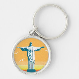 Rio - Corcovado - Jesus Christ the Redeemer Silver-Colored Round Key Ring