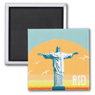 Rio - Corcovado - Jesus Christ the Redeemer Square Magnet