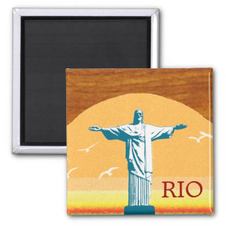 Rio . Corcovado . Jesus Christ the Redeemer Square Magnet