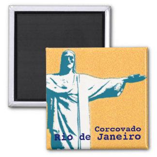 Rio / Corcovado / Jesus Christ the Redeemer Square Magnet