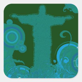 Rio - Corcovado - Jesus Christ the Redeemer Square Sticker