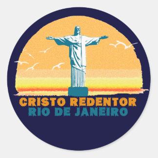 Rio - Corcovado - Jesus Christ the Redeemer Classic Round Sticker