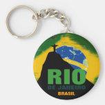 Rio de Janeiro - Brasil flag Basic Round Button Key Ring