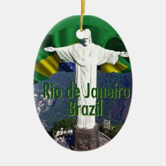 Rio de Janeiro Brazil Double-Sided Oval Ceramic Christmas Ornament