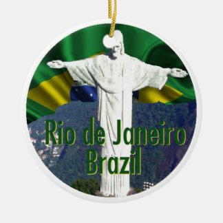 Rio de Janeiro Brazil Double-Sided Ceramic Round Christmas Ornament