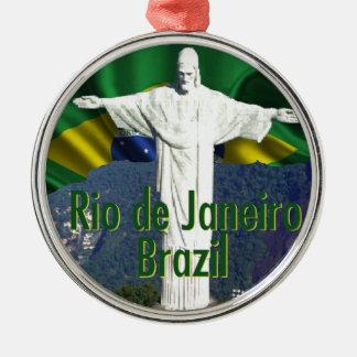 Rio de Janeiro Brazil Round Metal Christmas Ornament