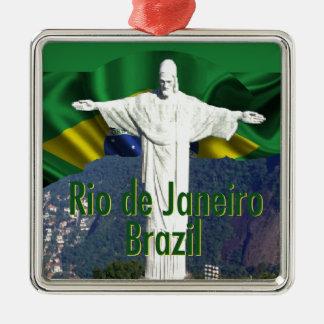 Rio de Janeiro Brazil Square Metal Christmas Ornament