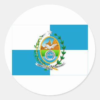 Rio de Janeiro, Brazil Flag Round Sticker