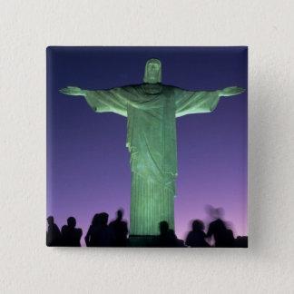 Rio de Janeiro, Brazil. the Christ Statue on 15 Cm Square Badge