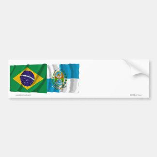 Rio de Janeiro & Brazil Waving Flags Bumper Sticker