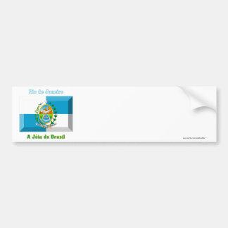 Rio de Janeiro Flag Gem Bumper Sticker