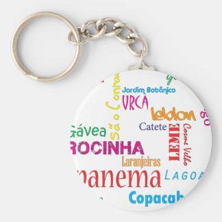 Rio de Janeiro Neighbourhoods Basic Round Button Key Ring